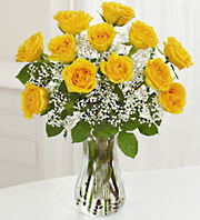 one dozen sunshine roses